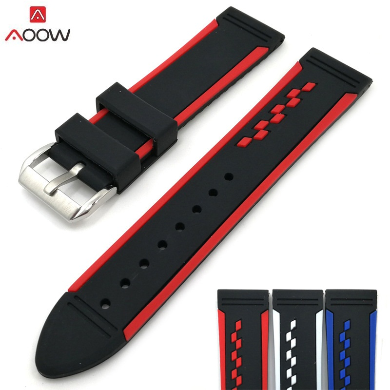 AOOW Double Colorful Watchband 20mm,22mm,24mm Silicone Rubber Watch Straps Waterproof 2018 New Design Fashion