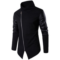 2017 Nuovo Collare Del Basamento Uomini Sweatercoat di Autunno Sottile Splicing Maglione di Lavoro A Maglia Degli Uomini di abbigliamento Europa e In America di modo lavorato a maglia cappotto