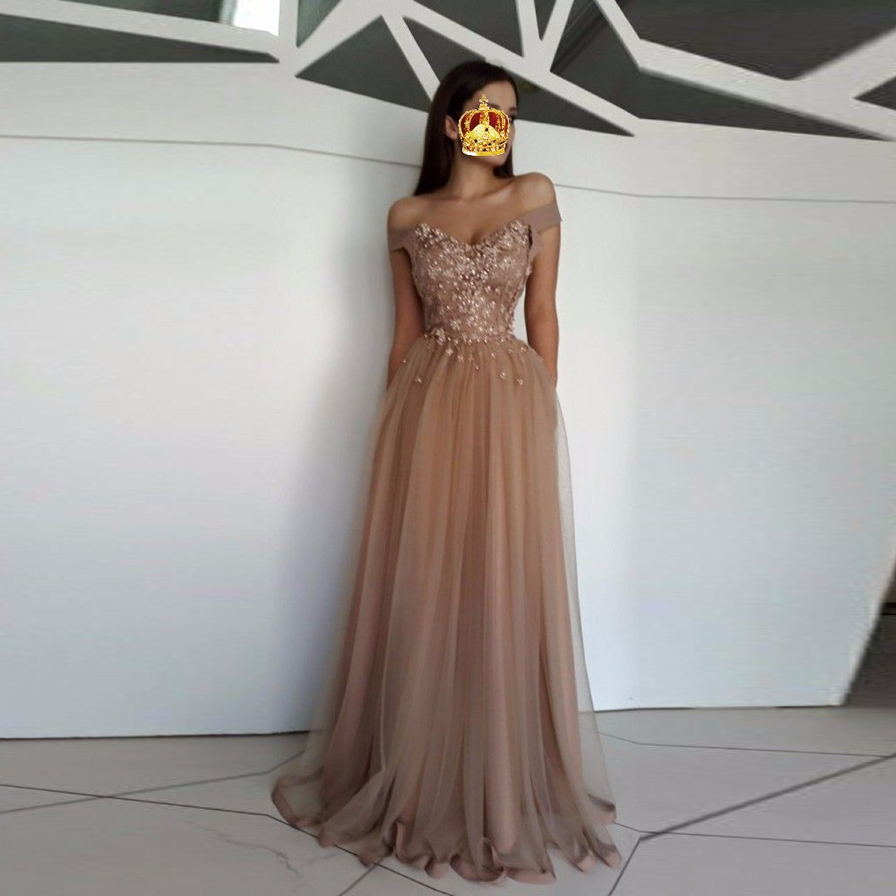 Floral   Evening     Dress   Arabian robe de soiree   Evening   Gowns Tulle vestido de festa Long Formal   Dresses   Off Shoulder Custom Made
