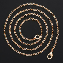 Davieslee 585 Rose Gold Necklace For Women Thin Rolo Cable Chain Womens Necklaces Dropshipping Jewelry Gifts Elegant 2mm DCN14(China)