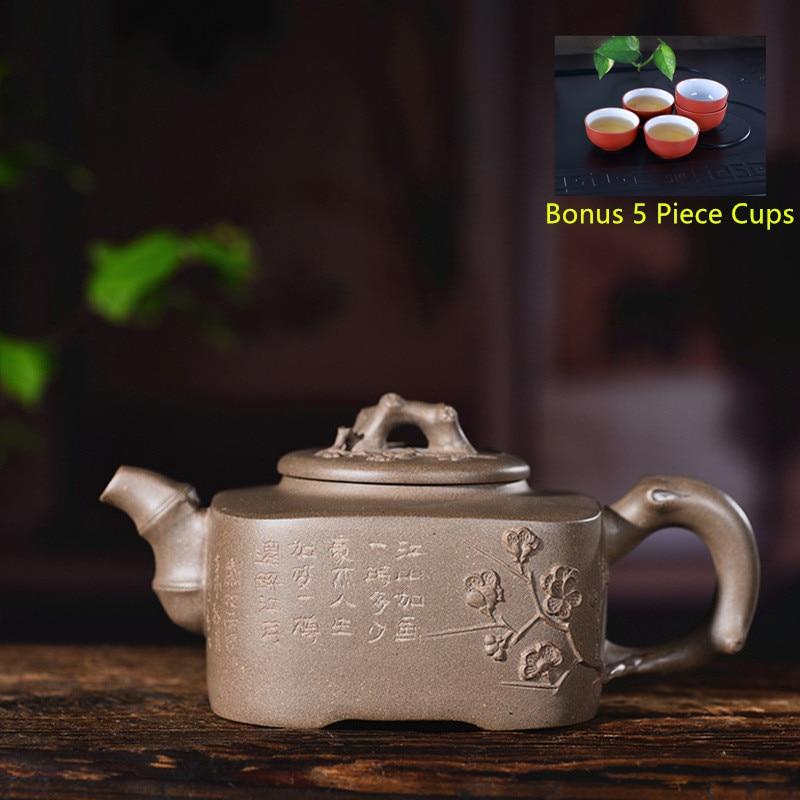 280ml Yixing Purple Clay Tea Pot Genuine Raw Ore Quartet Plum Tea Pot Kung Fu Teapot Bonus 5 Piece Cup Tea Set Free Shipping