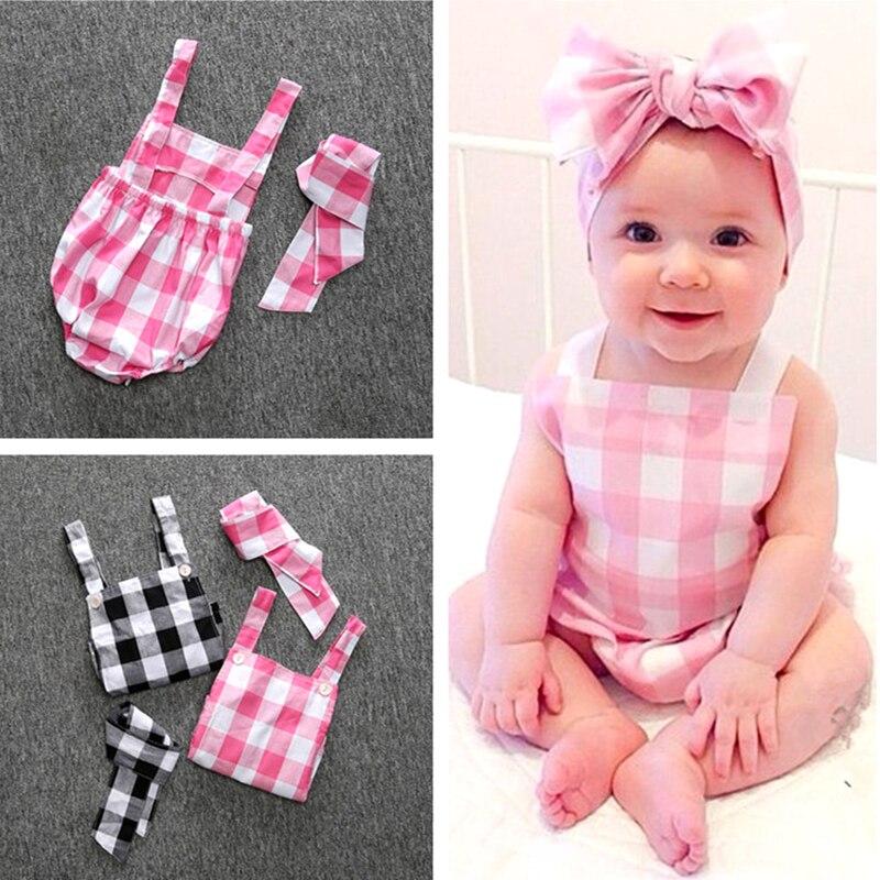 021a48b71c1f Cute Baby Girls Long Sleeve Plaid Jumpsuit Dresses+Hat 2Pcs Suits ...