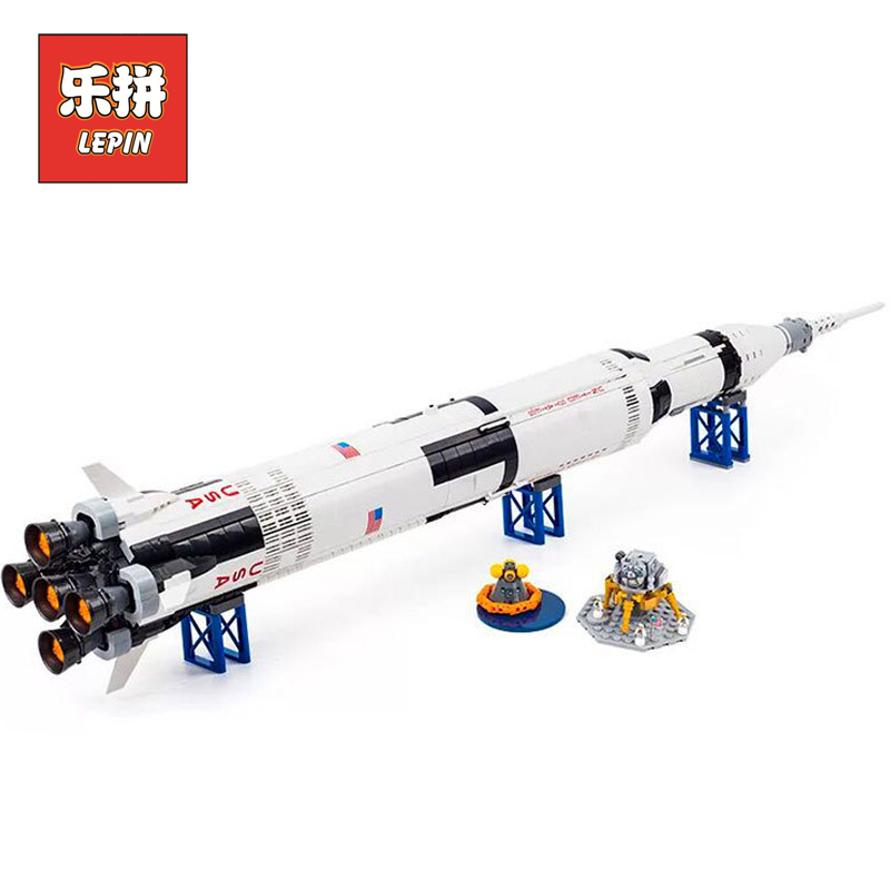 Lepin Creative Series 21309 the Apollo Saturn V Launch Vehicle Set Children Educational Building Blocks Bricks Toy lepin 37003 apollo ru bun lock children puzzle toy building blocks
