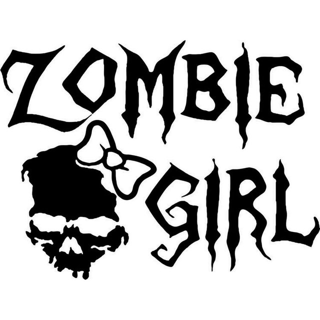 16cm12cm zombie girl skull walking dead car truck window vinyl decal sticker car styling