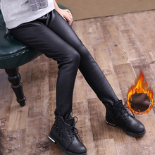 Cute Girls leggings high quality faux leather pants Kids knitting imitation leather winter warm leggings WCH697