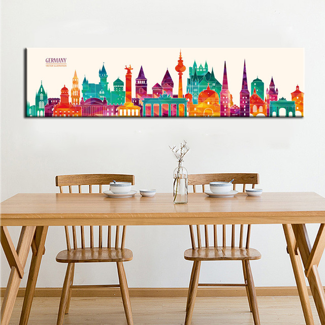 Us 3 39 15 Off Modern Abstract Canvas Painting Buildings Vector Illustration Digital Printed Wall Painting Art For Living Room Home Decoration In