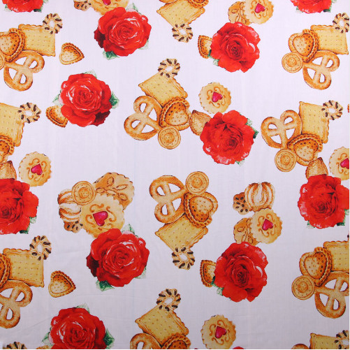 100X145cm Romantic Theme Fresh Witty Collection with Cookie and Rose White Cotton Fabric for Woman Summer Dress Shirt DIY-AF340