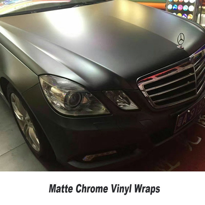 wrap car grey Matte Satin Chrome Vinyl Wrap Film Sticker Decal Bubble Free covering film car Whole volume sales 5ft X 65ft/Roll подводка для глаз черная essence глаза