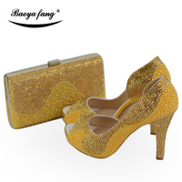 BaoYaFang Gold pearl and crystal Womens wedding shoes with matching bags Peep toe Open side Fashion shoes and purse woman