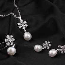 [MeiBaPJ]925 Silver top quality 100% genuine black freshwater pearl pendant necklace and earrings jewelry sets for women
