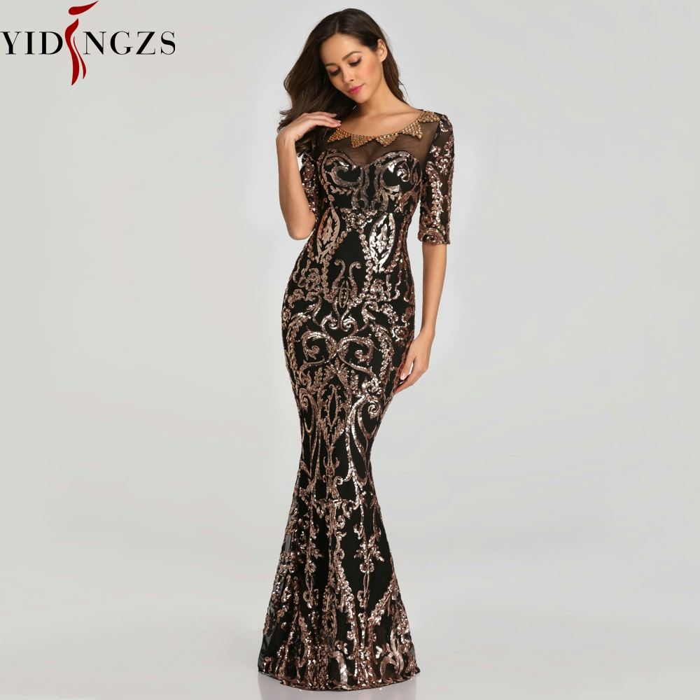 Image 2 - YIDINGZS Sequins Evening Party Dress 2019 Half Sleeve Beads Formal Long Evening Dresses YD603-in Evening Dresses from Weddings & Events