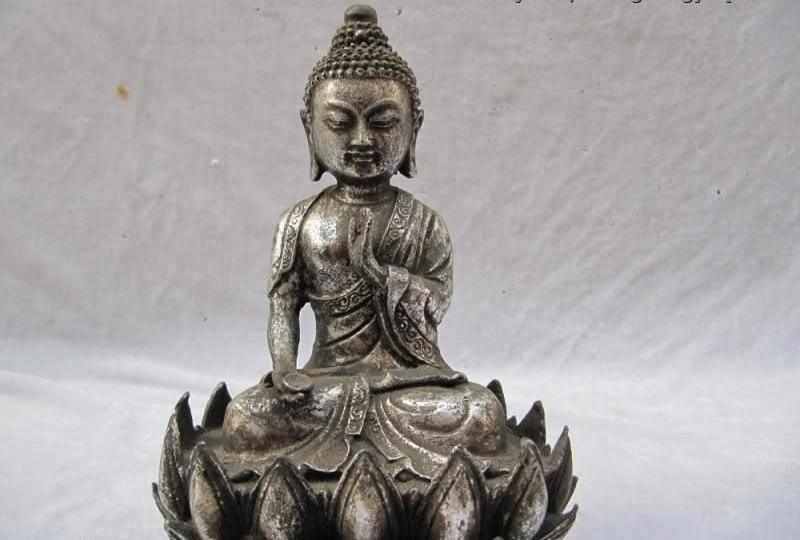 Tibet Folk Fane White Bronze Apothecary Sakyamuni Buddha Statue Sit Lotus Flower