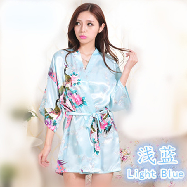 67bad55283 Sky Blue Peacock Pattern Short Design Wedding Bridal Kimono Robe Top  Quality Silk Satin Lady Night Dress Gown Women nightgown