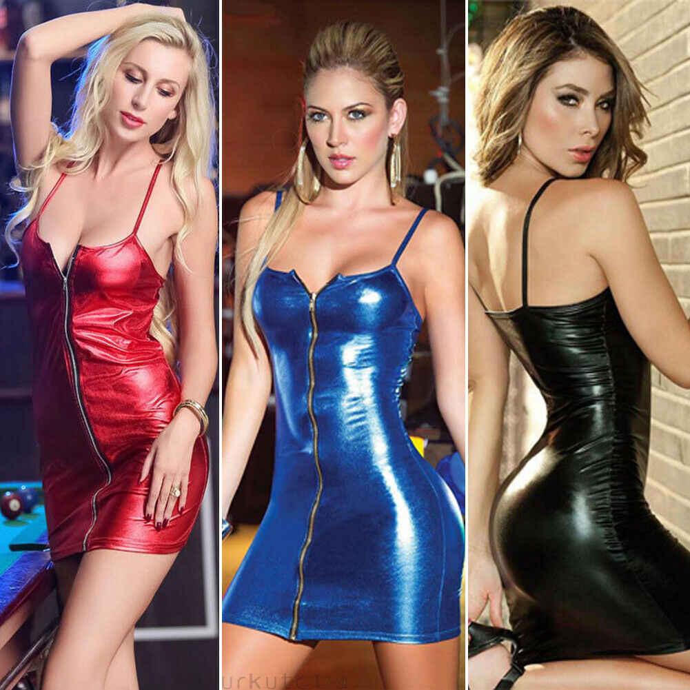 Mode Frauen Shiny Cocktail Clubwear Ärmelloses Party Mini Short Bodycon Kleid S-4XL