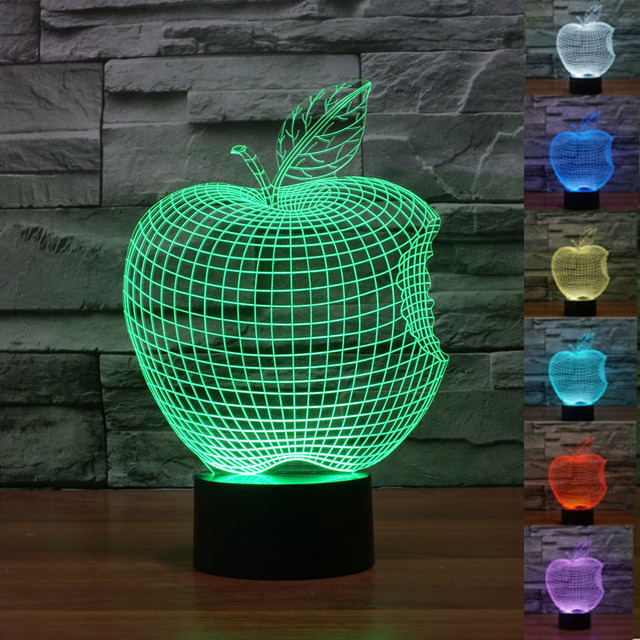 Apple 3D Led Acrylic Lamp Touch Led Lamp 7 Color Changing Night ...