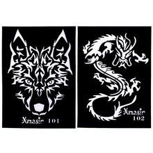 Wholesale 200Pcs Large Size Airbrush Tattoo Stencils Wolf Dragon Arm Back Tattoo Sticker for Men Body Paint Template 21 * 14.3cm(China)