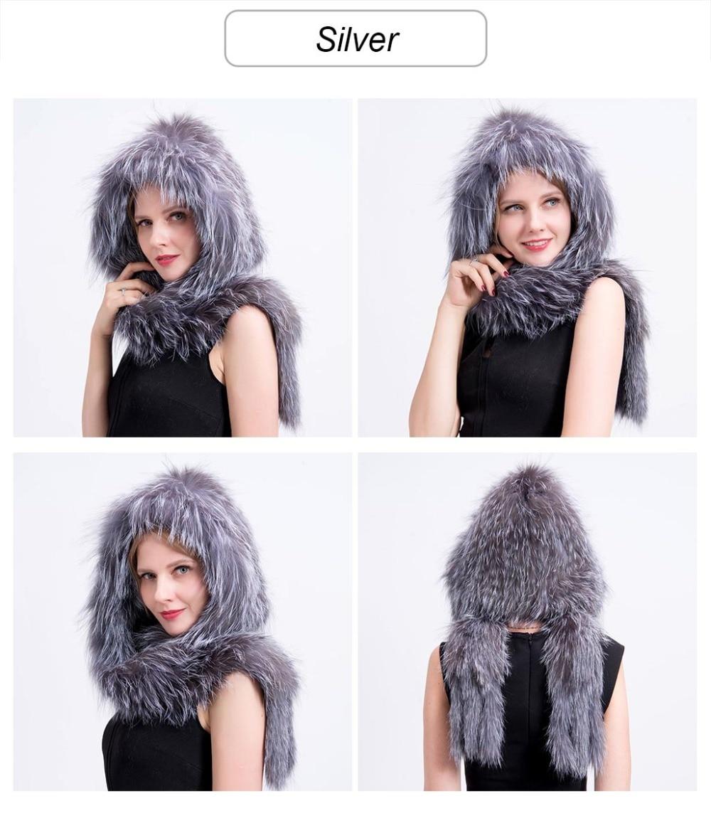 knit fox fur hat scarf color 6