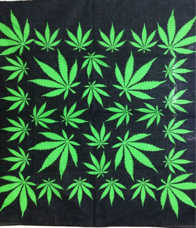 Bandana Headwear Leaf Reggae Hip-Hop Weed Jamaica Green 100%Cotton Mens Punk