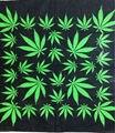 Бесплатная доставка 2016 100% хлопок новый зеленый сорняк листьев бандана бандану головные уборы группы шарф шеи запястья Headtie для женщин / мужчин