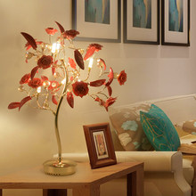 Romantic bedroom bedside table lamps decoration bedside desk lamp new petal Crystal Wedding living room Nordic style table lamp(China)