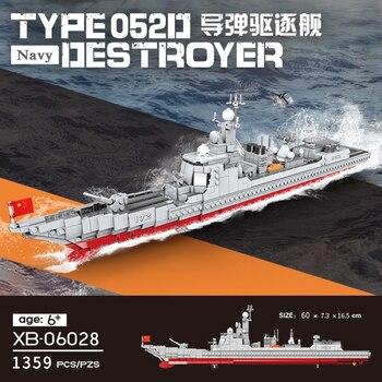 XINGBAO 06028 NEW 1359PCS Military Army Series The Missile Destroyer Set Building Blocks Bricks Cruiser Battleship Model Kits