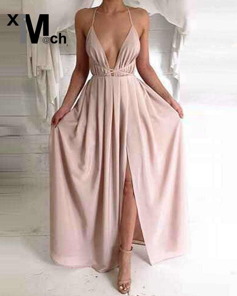Women Elegant Sexy Long Dress Deep V-neck Straps Backless Bandage Satin Pleated Maxi Dress DR12015B tote bags for work