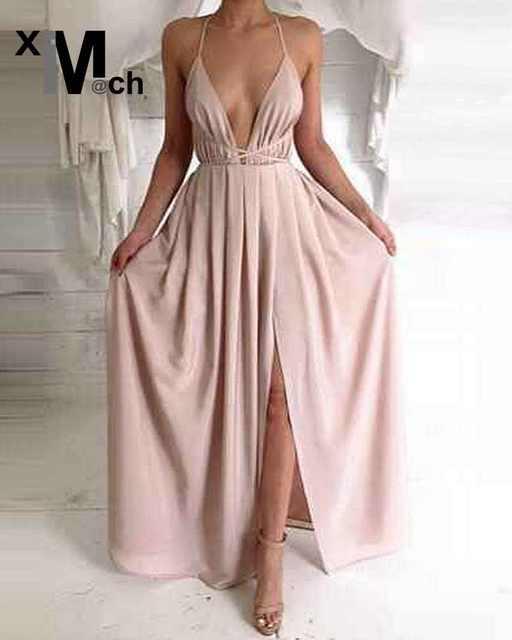 5a7e407328 Elegancka seksowna długa sukienka głęboki dekolt w serek Backless paski  boczne szczelina bandaż sukienka satynowa sukienka