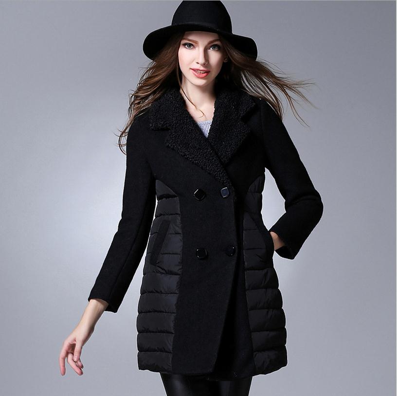 XL 5XL PLUS SIZE 2017 autumn and winter women s fashion brand woolen jacket stitching down