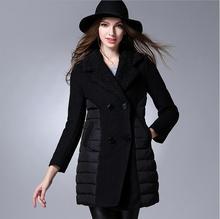XL-5XL ПЛЮС РАЗМЕР 2017 осень и зима женская мода марка шерстяные куртки сшивание вниз хлопка куртки теплые парки w1653
