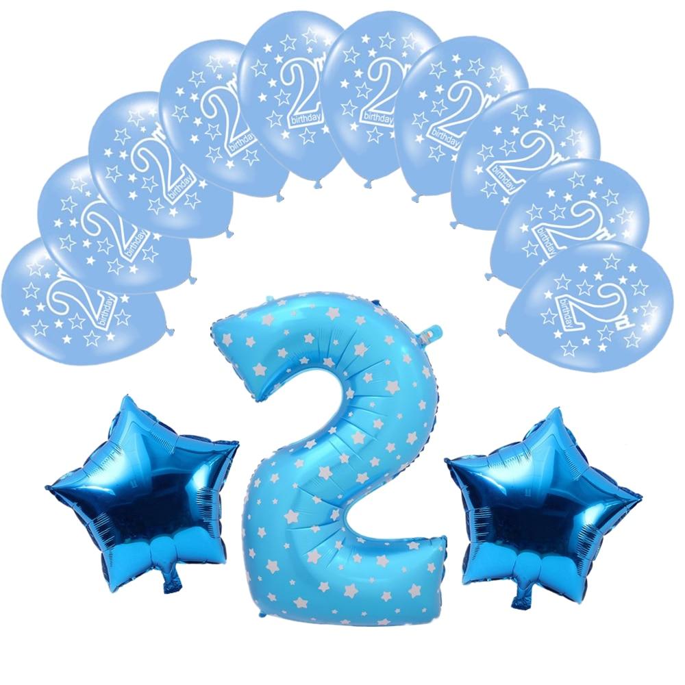Zljq 13pcs Unicorn Number 2 Foil Air Balloons Kit 2nd Birthday