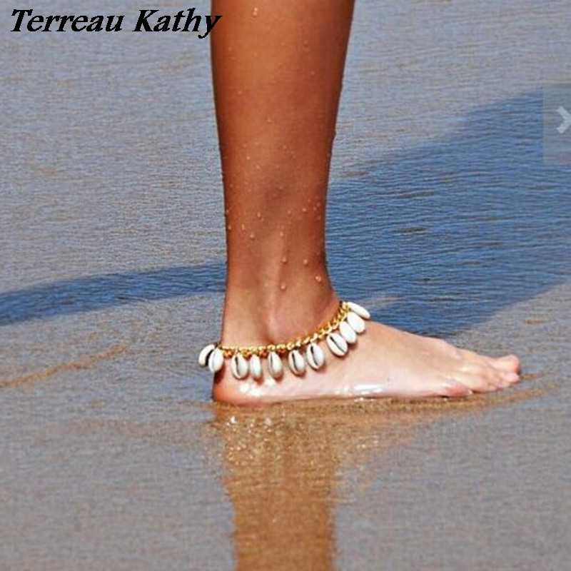 Terreau Kathy Real Shooting Bohemian Foot Jewelry Fashion Personality Beach Shell Tassel Anklet Bracelet For Women Leg Chain