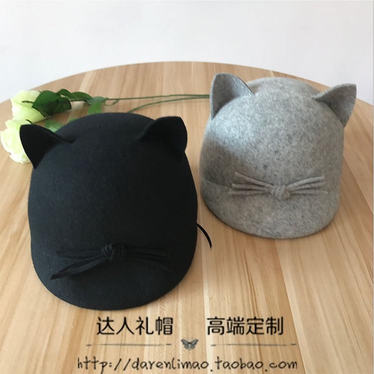 Wool, baseball caps, sweet cat decoration of new fund of 2017 autumn winters equestrian cap individuality female hat wool skullies cap hat 10pcs lot 2289