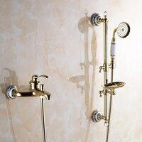 Vidric Shower Faucets Wall Mounted Bath Shower Sets Bathroom Golden Brass Bath Shower Faucet with Slide Bar Handheld Soap Dis