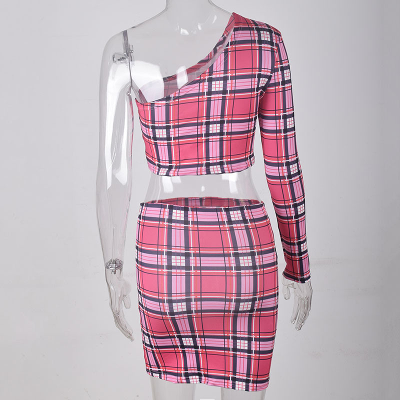 HTB1eo5Ka7L0gK0jSZFAq6AA9pXaT - ANJAMANOR Plaid Print Sexy Two Piece Set One Shoulder Long Sleeve Crop Top Skirt Matching Sets Club Outfits Spring D0-AC72