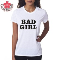 Cherry Blossom Summer Style Women S T Shirt Women Tops Slim Fit BAD GIRL Printed Clothing