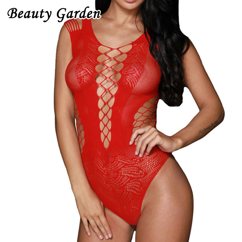 Beauty Garden Women Summer Solid Bodysuits Sexy Slim V-Neck Hollow Out Sleeveless Lace Splicing Bodysuits For Women Club