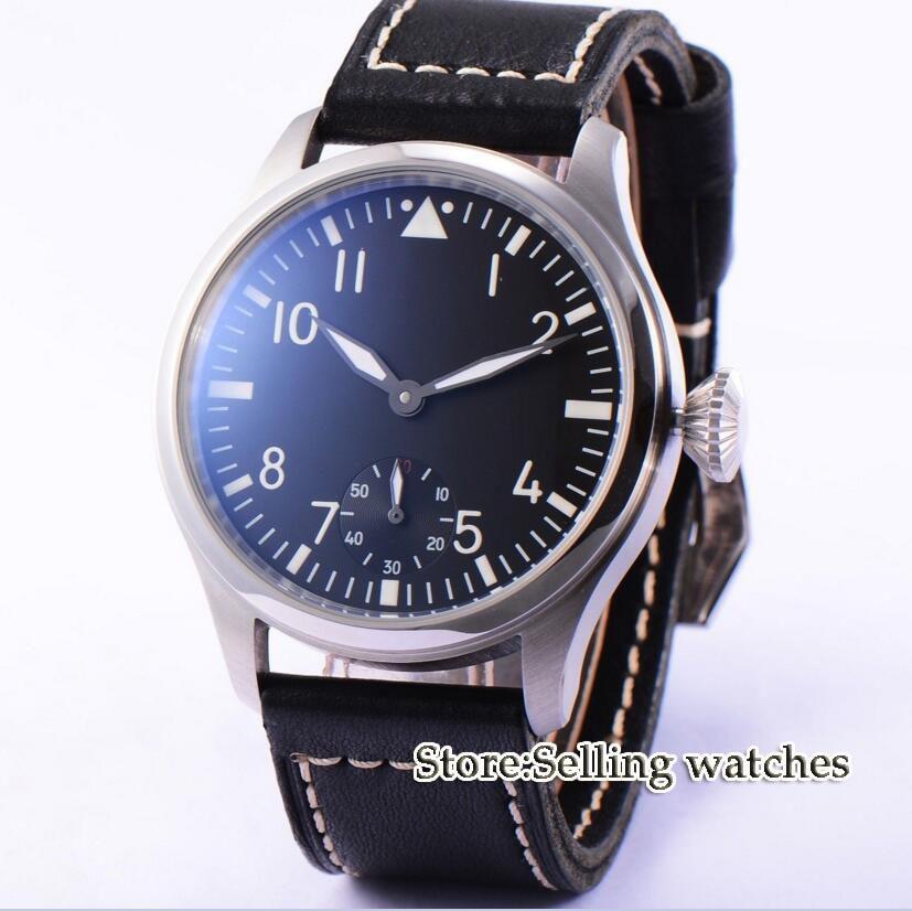 47mm parnis black dial ST36 6498 movement hand winding mens luxury watch цена и фото