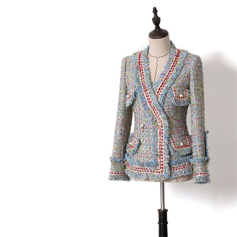 Chaqueta de lujo hecha a mano trajes para mujeres moda Tweed cuello en V doble botones de perlas borlas Chaquetas cortas abrigo-in chaqueta de deporte from Ropa de mujer    1