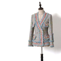Handmade Luxury Blazer Suits for Women Fashion Tweed V Neck Double Breasted Pearl Buttons Tassel Short Blazers Coat