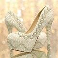 Новое поступление перл белый мода женщина свадебные насосы женщин высокой пятки платформы свадебные туфли знатных свадебная обувь