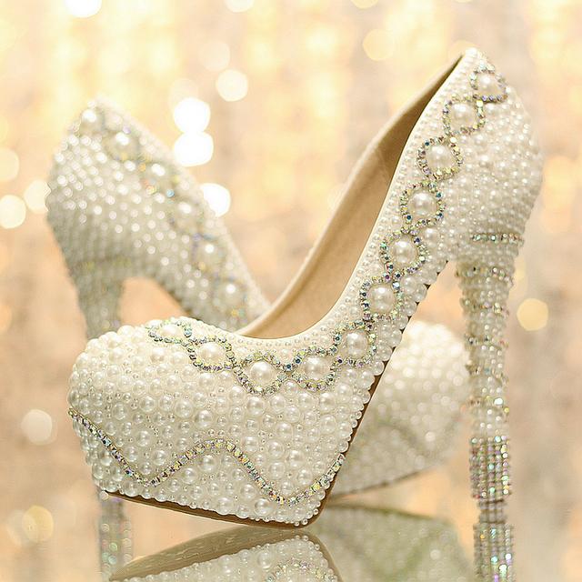 Nova chegada branco pérola moda mulher bombas de salto alto das mulheres de casamento sapatos de noiva sapatos de casamento sapatos de plataforma damas