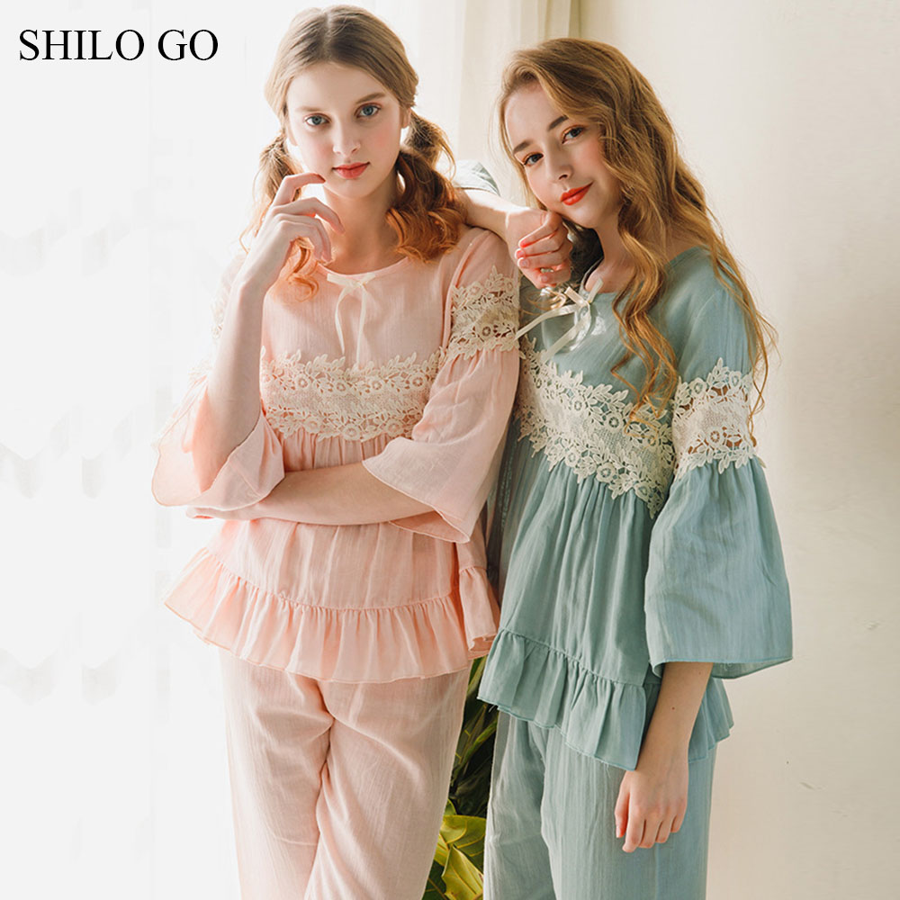 SHILO GO Pajamas Set Spring Women Home Comfortable V Neck flower Embroidery flare sleeve A Line blouse ruffles pants suit