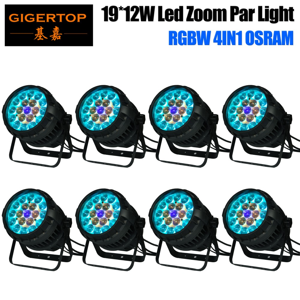 Gigertop 8 Units 19x12W RGBW 4IN1 Zoom Led Par Cans Quad Color Waterproof IP65 Power/DMX Cable 1m Long LCD Display Acrylic LENS