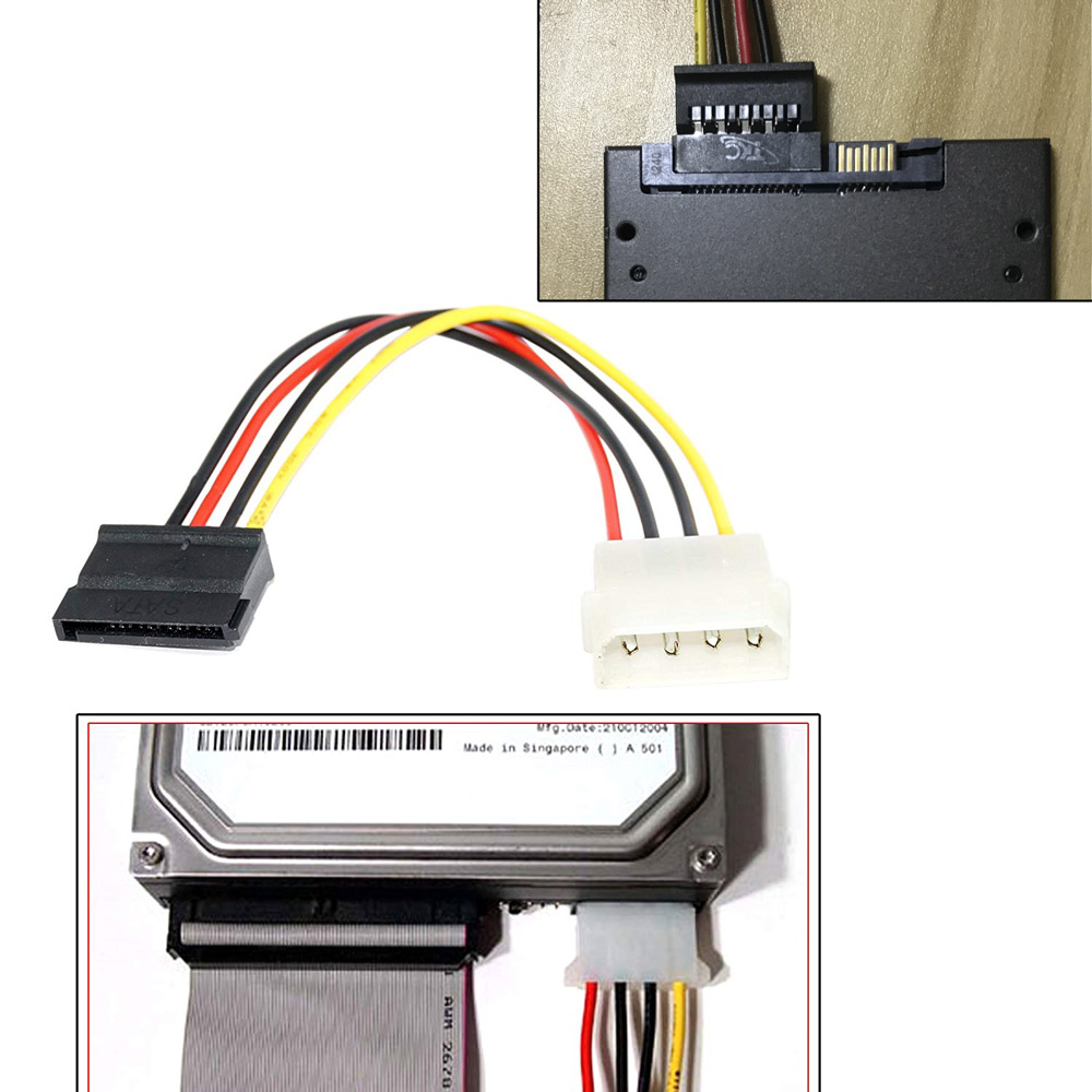 Ingelon Sata Power Cable Molex IDE to Serial ATA Power Adapter 4 Pin to 12 Pin Cable hard disk Sata to esata 6.9inch SSD Cable (6)