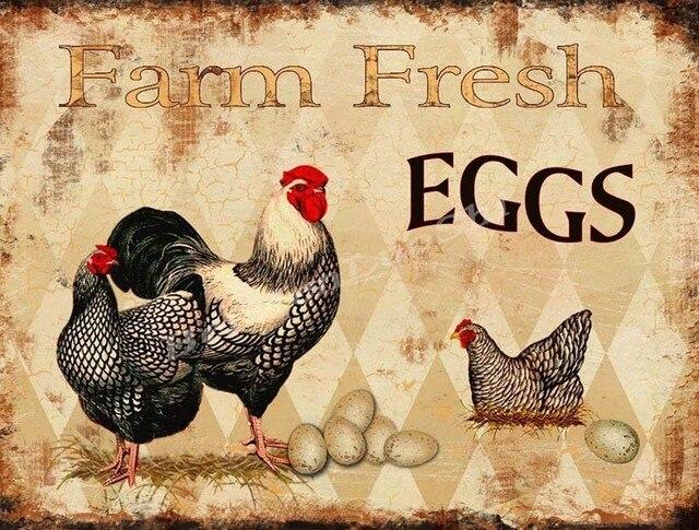 Vintage Home Decor Farm Fresh Eggs Vintage Metal Sign Wall Art For