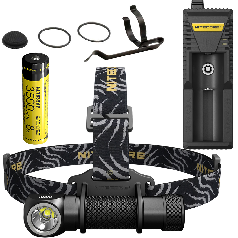Free Shipping NITECORE HC33 1800Lm Headlamp i1 Charger 18650 Rechargeable Battery Headlight Waterproof Headlight Outdoor Camping nitecore hc33 1800lumen headlamp um10 charger 18650 rechargeable battery headlight waterproof flashlight outdoor camping travel