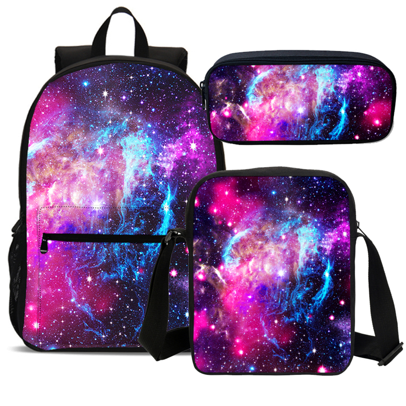 2019 Galaxy Print Girls School Backpacks Laptop Bag Children 3pc School Bags Set Kids Bookbag Student Backpack Mochila Escolares