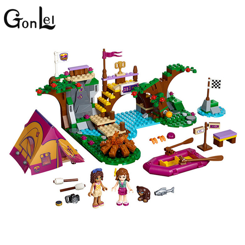 GonLeI BELA 10493 325pcs Friends Adventure Camp Rafting Building Blocks Set Model Compatible Friends For Girls kids toys