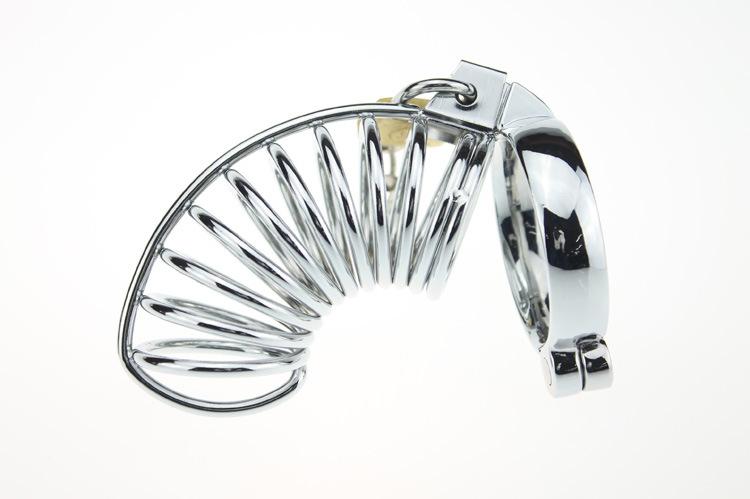 цена chastity lock stainless steel male chastity device metal silver urethra blocking long section of the cage Men Chastity lock