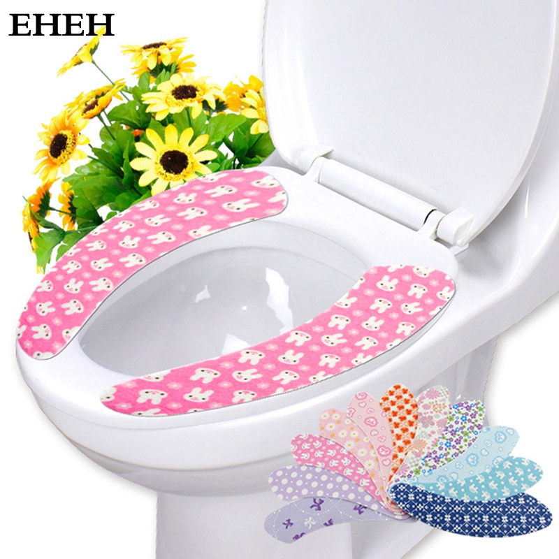 EHEH Colorful Sticky Toilet Mat Comfortable velvet toilet seat cover General Plush Toilet seat cushion Household Reuseable EH033